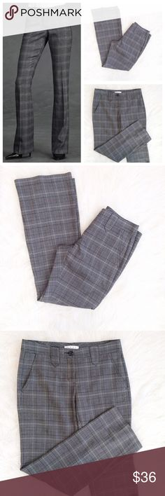 CAbi glenplaid Cousel #922 pants In like new condition, CAbi Glenplaid Cousel style #922 dress pants. Front and back pockets. 66% polyester, 32% Rayon, 2% spandex, machine wash cold. Size 4, 32 inch inseam, 16 inch waist measured flat. CAbi Pants Boot Cut & Flare