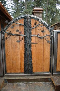 Doorsssss gate for the Martin handcrafted dovetail home by Caribou Creek Log Homes. Outdoor Spaces, Outdoor Living, Outdoor Decor, Gate House, Fence Gate, Fencing, Cedar Fence, Wooden Fence, Wooden Garden