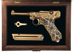 Lugar Pistol ... gold plated with ivory grips by Krieghoff Heinrich Gun Co ... one of the leading pieces to be offered at auction, carrying a presale estimate of between $50,000 and $100,000.