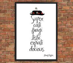 Mary Poppins Disney devis impression Supercalifragilisticexpialidocious affiche Mary Poppins enfants chambre Chambre d'enfant chambre inspiration cadeau (020)