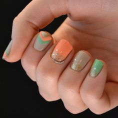 Mint & coral chevron accented