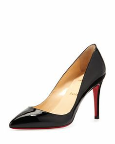 X1XEB Christian Louboutin Pigalle Patent Red Sole Pump, Black