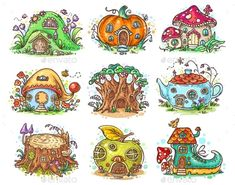 cute cartoon elven, fairy or gnome houses in the form of pum.ite outline version get in touch if you have any questions! Fairy Drawings, Art Drawings Sketches, Cute Drawings, Mushroom Drawing, Mushroom Art, Happy Cartoon, Cute Cartoon, House Doodle, Gnome House