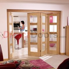 Image of Nuvu Oak Doors, Contemporary 4L Oak 4 Door Set 3 to Right - Clear Glass