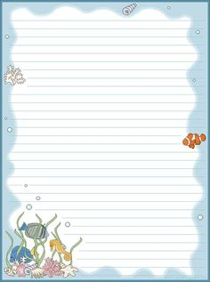 sea and fish lined paper with border Printable Lined Paper, Free Printable Stationery, Free Printables, Lined Writing Paper, Writing Papers, Cute Journals, Notebook Paper, Stationery Paper, Planner Pages