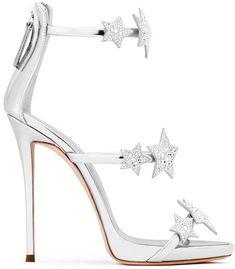 Giuseppe Zanotti 'Harmony Star' mirrored silver sandal with three straps and stars #giuseppezanottiheelssilver
