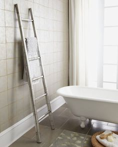 Bamboo Towel Rack via Horchow. A thousand times this! I have wanted a ladder towel rack since seeing one in a model home. Bamboo + silvery finish = beyond my dreams! Forget the wooden version! Now, who wants to gift me this as a housewarming treat?