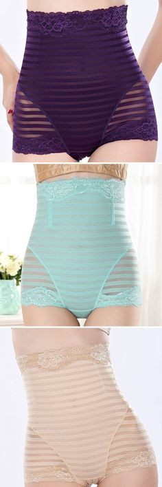 US$ 6.88 High Waisted Tummy Tuck Solid Color Shapewear Briefs Underwear