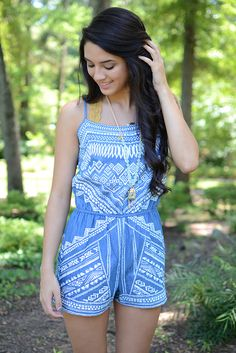 En Creme Printed Blue and White Romper