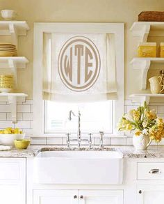 I covet the sink, faucet, shelving, tile, colors!       Bentley Oval Wall Monogram Decal