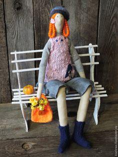 Купить Аполинария. - рыжий, мечты о Париже, кукла ручной работы, кукла интерьерная, кукла Тильда