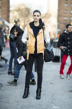 This Is It — Over 400 of The Best Looks to Hit the Streets at NYFW: Camel-hued leather added a softer kind of cool to this model's off-duty style.  Source: Adam Katz Sinding