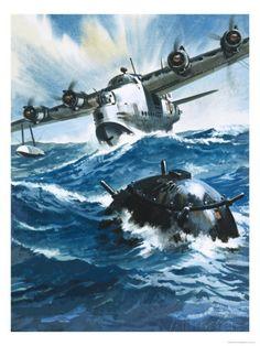 As Flying Officer G. O. Singleton Gunned the Engine of the Short Sunderland He Saw a Drifting Mine Gicleetryck