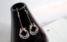 2014 New Jewelry Fashion Earrings For Women Ring Imitation Diamond Colorful Rhinestone Bow Pendants Earrings Rhinestone Earrings, Dangle Earrings, Tassel Earrings, Fashion Earrings, Fashion Jewelry, Ringe Gold, Rhinestone Bow, Plaque, Krystal