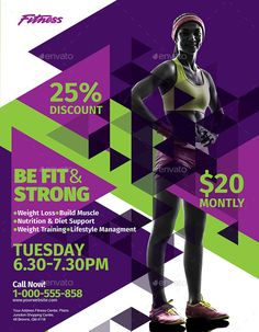 Fitness Flyer Bundle - Demetra J. Event Flyer Templates, Flyer Design Templates, Gym Advertising, Fitness Flyer, Fitness Sport, Advertisement Examples, Free Business Card Design, Muscle Nutrition, Workout Posters