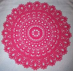 """17 1/2"""" Dimensional Hand Crocheted Cotton Thread Doily """"Anna"""" in Hot Pink!"""