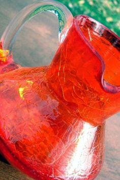 Vintage orange Pilgrim crackle glass pitcher, my mother collected vintage crackle glass, I inherited her lovely pieces. Brick Road, Glass Pitchers, Crackle Glass, Vintage Dishes, Pilgrim, All The Colors, Rustic, Orange, Retro