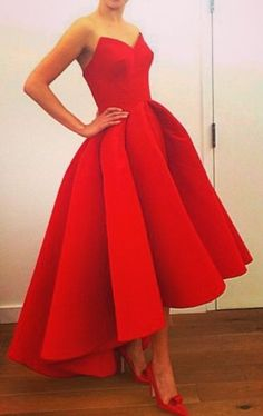 Real Iamge Prom Dresses Unique New Elegant Cheap Hi-lo Red Sweetheart Satin Long Formal Party Gowns
