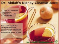 ~Kidney Cleanse Juice~ A Kidney cleanse is a procedure aimed at dissolving Kidney stones - stones formed inside kidneys. Kidney cleanse can also be used for improving kidney health by flushing out toxins accumulated inside kidney tissues. Kidney Detox Cleanse, Detox Juice Cleanse, Detox Juice Recipes, Detox Drinks, Healthy Drinks, Liver Cleanse, Healthy Smoothies, Smoothie Recipes, Kidney Recipes