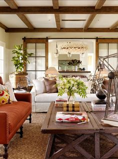 Living Room Decor Ideas. Great, warm living room decor ideas. Coffee tables are vintage pieces. #LivingRoomDecor #LivingRoomDesign