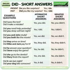 Short answers using DID in English - Grammar