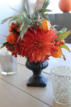 Fall floral arrangement from our Halloween wine party!