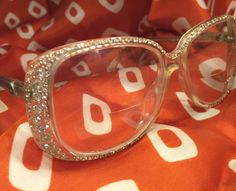 Vtg ACTUELL Clear Rhinestone Butterfly Plastic Eyeglasses Frame Germany Mid Mod #ACTUELL #Butterfly