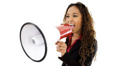 Woman with megaphone. Stock image of businesswoman shouting using megaphone over , Mobile Marketing, Love Thy Neighbor, Harsh Words, Marketing Information, From Where I Stand, Smart Women, Marketing Quotes, Influencer Marketing, Dear God