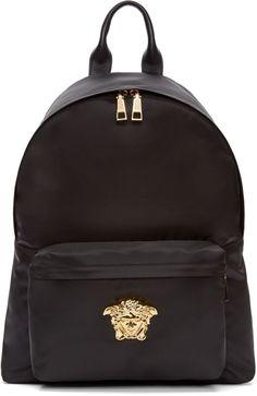 f25de68c319 Versace Black & Gold Nylon Medusa Backpack Versace Tas, Zwarte Rugzak,  Medusa, Herenmode