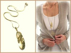 Large Golden Brass carved Feather Native American inspired Long Layering Bohemian necklace Southwestern Tribal Statement piece by Inali on Etsy, $25.00
