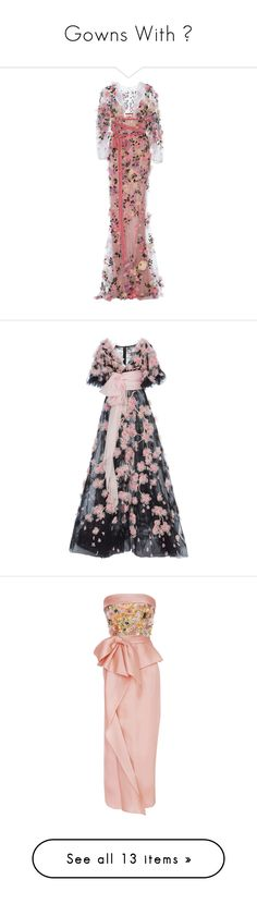 """""""Gowns With 💐"""" by izzystarsparkle ❤ liked on Polyvore featuring dresses, gowns, marchesa, purple, sheer dress, embroidered gown, marchesa gowns, see through dress, red evening dresses and black"""