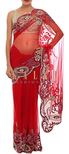 Buy Online from the link below. We ship worldwide (Free Shipping over US$100) http://www.kalkifashion.com/red-saree-embellished-in-stone-and-applique-embroidery-only-on-kalki.html