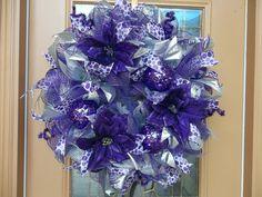 SALE...Purple Poinsettia Deco Mesh Holiday Door by DecoDzigns, $125.00