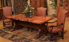 Dining room tables farmhouse style with antique leather dining chairs | Decolover.net