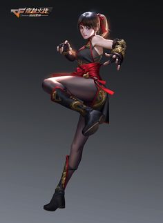 """Manga Character Drawing Character illustration for the game """"Through FireWire"""" ART by Shanghai Fantasy Girl, Chica Fantasy, 3d Fantasy, Fantasy Warrior, Fantasy Women, Warrior Pose, Female Character Design, Game Character, Character Concept"""
