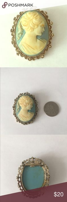 Vintage Cameo Brooch From my Grandmothers Vintage Collection. She started collected them when she was younger at yard sales in New York. Over 700 pins and brooches in her collection. Can wear as necklace. Vintage Jewelry Brooches