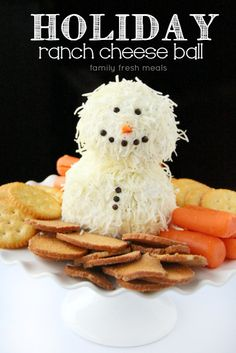 This holiday ranch cheese ball is the perfect holiday party appetizer: easy to make, easy to serve, and always a crowd-pleaser for young and old alike. Holiday Party Appetizers, Christmas Party Food, Merry Christmas, Christmas Goodies, Holiday Treats, Christmas Treats, Christmas Baking, Holiday Parties, Holiday Fun