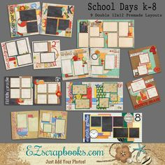 School Days K-8 Set of 9 Double Page Layouts. 12X12 Pages. Just add photos to these layouts! Complete your scrapbooks easily with our quick pages!