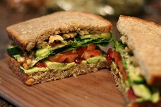 yummy-healthy-food:  Sandwich with Avocado,Craisins, Tomato, Lettuce, Cucumber, Walnuts and Pumpkin Seed Butter.