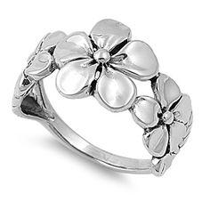 Sterling Silver Triple Plumeria Ring