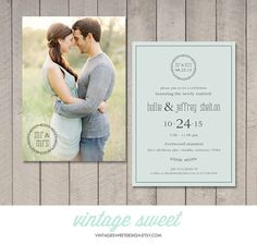 Modern Wedding Reception Invitation (Printable DIY) by Vintage Sweet Design On Etsy {$12.00} vintagesweetdesign.etsy.com  Great for a reception after your Destination Wedding or Beach Wedding!