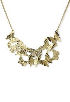 Golden Butterfly Necklace with Cut Out Detail - Accessory - Retro, Indie and Unique Fashion