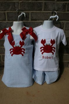 brother sister matching outfits... Wouldn't want a crab but this is still so cute! Need to think of something for our next family pics