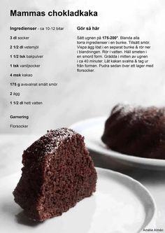 Vegan Vegetarian, Vegetarian Recipes, Just Bake, Fika, No Bake Desserts, Chocolate Cake, Cake Recipes, Deserts, Good Food