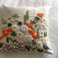 Nipped into the supermarket for teabags and came home with this sweet cushion!!  #embroideredcushion #impulsebuy