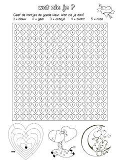 Geef de hartjes de goede kleur [yurls.net] Card Games For Kids, Fun Activities, Valentines Day, Homeschool, Presents, Entertaining, Net, Teaching, Cards