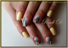 Bluesky gel polish 566, 504 http://radi-d.blogspot.com/2015/06/pastel-yellow-gel-polis-with-flowers.html