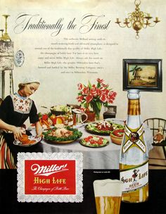 1951 Miller High Life beer ad, Holland feast from #RetroReveries