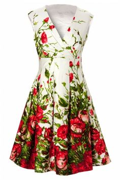 Love!! Pinup Couture - Sadie Dress in Red Floral Border Print