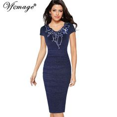 FuzWeb:Vfemage Womens Ruched Elegant Vintage Embroidery Floral Party Mother of Bride Special Occasion Pencil Sheath Bodycon Dress 4576